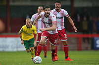 A Stevenage trialist dribbles the ball upfield during Stevenage vs Norwich City, Friendly Match Football at the Lamex Stadium on 11th July 2017
