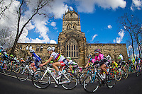 Picture by Alex Whitehead/SWpix.com - 30/04/2016 - Cycling - 2016 Asda Women's Tour de Yorkshire: Otley to Doncaster - Yorkshire, England - Great Britain's Lizzie Armitstead and the peloton ride past All Saints Church in Pontefract.
