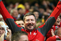 Pictured: A Wales supporter celebrates his team's win Saturday 14 March 2015<br />
