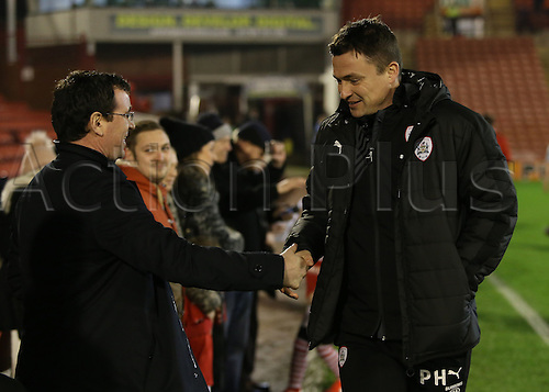 17th January 2017, Oakwell, Barnsley, South Yorkshire, England; FA Cup 3rd round replay, Barnsley versus Blackpool; Barnsley Head Coach Paul Heckingbottom shakes hands with Blackpool manager Gary Bowyer
