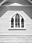 "Gothic window, former church now ""Heritage Hall"" museum, Dubois, Idaho"