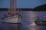 Moonlight on the Margaret Todd on Frenchman Bay in Bar Harbor, Maine, USA