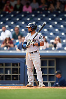 New Orleans Baby Cakes designated hitter Tomas Telis (18) at bat during a game against the Nashville Sounds on May 1, 2017 at First Tennessee Park in Nashville, Tennessee.  Nashville defeated New Orleans 6-4.  (Mike Janes/Four Seam Images)