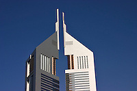 Dubai, United Arab Emirates.  Emirates Towers. Detail. Close up.  Modern office block and restaurants near Abu Dhabi Road..