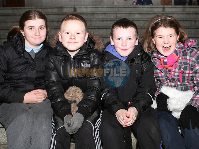 Amy Bowden, Jack Dawson, Jamie O'Brien and Shauna Bowden as Santa arrives in Drogheda...Photo NEWSFILE/Jenny Matthews..(Photo credit should read Jenny Matthews/NEWSFILE)