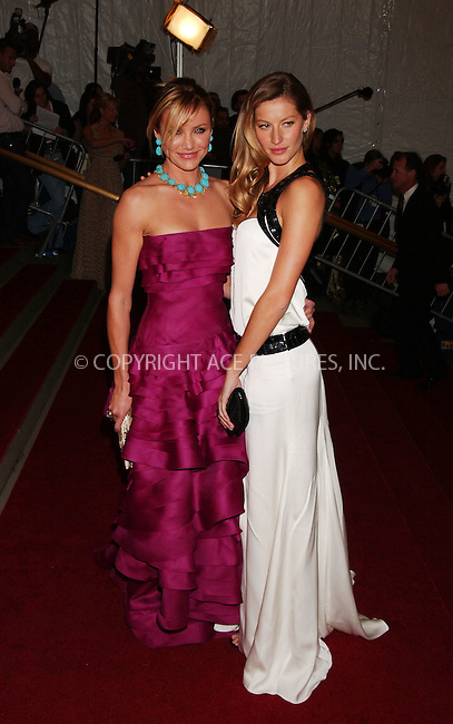 "WWW.ACEPIXS.COM................May 7 2007, New York City....Cameron Diaz and Gisele Bundchen....Arrivals at the 2007 Costume Institute Benefit Gala ""Poiret: King Of Fashion"" at the Metropolitan Museum of Art. ....Byline:  KRISTIN CALLAHAN - ACEPIXS.COM....For information please contact:....Philip Vaughan, 212 243 8787 or 646 769 0430..Email: info@acepixs.com..Web: WWW.ACEPIXS.COM"