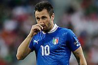 POZNAN, POLONIA, 18 JUNHO 2012 - EURO 2012 - ITALIA X IRLANDA - Antonio Cassano jogador da Italia durante partida contra a Irlanda pelo terceira rodada do Grupo C da Euro 2012 em Poznan na Polonia , nesta segunda-feira , 18. (FOTO: PIXATHLON / BRAZIL PHOTO PRESS).