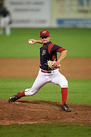 Batavia Muckdogs relief pitcher Josh Alberius (15) delivers a pitch during a game against the West Virginia Black Bears on August 7, 2017 at Dwyer Stadium in Batavia, New York.  West Virginia defeated Batavia 6-3.  (Mike Janes/Four Seam Images)