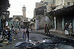 Nablus, West bank Israel, street scene after riot. 1980s Middle east.