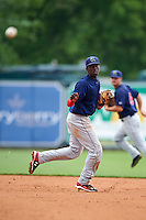 Cedar Rapids Kernels shortstop Nick Gordon (5) follows through on a throw to first during a game against the West Michigan Whitecaps on June 7, 2015 at Fifth Third Ballpark in Comstock Park, Michigan.  West Michigan defeated Cedar Rapids 6-2.  (Mike Janes/Four Seam Images)