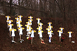 NEWTOWN, CT - 16 December 2012-121612EC10--    Roadside memorials have sprung up across Newtown since Friday's school shooting.  These angel signs are right off of Exit 10 along Church Hill Road.  Erin Covey Republican-American.