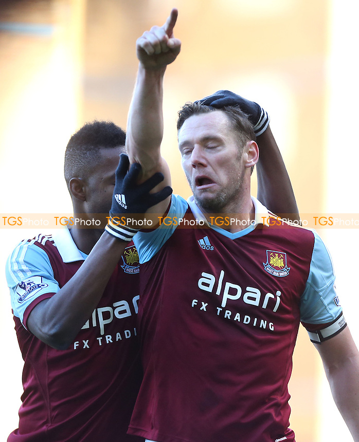 Kevin Nolan celebrates with Modibo Maiga after scoring the 3rd goal for West Ham - West Ham United vs West Bromwich Albion, Barclays Premier League at Upton Park, West Ham - 28/12/13 - MANDATORY CREDIT: Rob Newell/TGSPHOTO - Self billing applies where appropriate - 0845 094 6026 - contact@tgsphoto.co.uk - NO UNPAID USE
