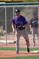 Colorado Rockies first baseman Chad Spanberger (81) during a Minor League Spring Training game against the Milwaukee Brewers at Salt River Fields at Talking Stick on March 17, 2018 in Scottsdale, Arizona. (Zachary Lucy/Four Seam Images)