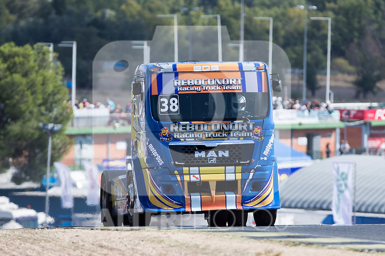 Portuguese driver Jose Eduardo Rodrigues belonging Portuguese team Jose Eduardo Rodrigues during the fist race R1 of the XXX Spain GP Camion of the FIA European Truck Racing Championship 2016 in Madrid. October 01, 2016. (ALTERPHOTOS/Rodrigo Jimenez)