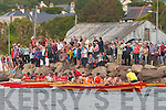 Action from the closing stages of the Seine Boat race in Cahersiveen on Sunday pictured here as they finished were Portmagee/Knockeen's 1st, Sneem 2nd & Valentia Dermot Walsh 3rd.