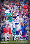 14 September 2014: Buffalo Bills cornerback Corey Graham (20) breaks up a pass intended for Miami Dolphins wide receiver Mike Wallace (11) in the first quarter at Ralph Wilson Stadium in Orchard Park, NY. The Bills defeated the Dolphins 29-10 to win their home opener and start the season with a 2-0 record. Mandatory Credit: Ed Wolfstein Photo Original image was made as a RAW (NEF) file using a Nikon D4 DSLR camera.