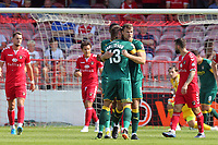 Ben Turner of Notts County is congratulated after scoring the first goal during Ebbsfleet United vs Notts County, Vanarama National League Football at The Kuflink Stadium on 24th August 2019