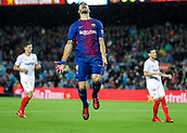 4th November 2017, Camp Nou, Barcelona, Spain; La Liga football, Barcelona versus Sevilla; Luis Suarez of FC Barcelona disappointed after missing a goal chance