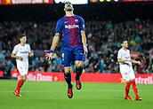 4th November 2017, Camp Nou, Barcelona, Spain; La Liga football, Barcelona versus Sevilla; Luis Suarez of FC Barcelona disappointed after missing a goal chance