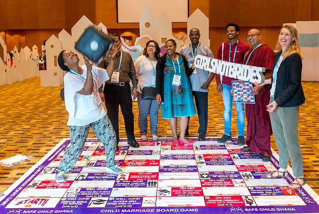 26 June, 2018, Kuala Lumpur, Malaysia : Groups playing the Child Marriage Board Game as part of a role playing exercise in The Village on the second day at the Girls Not Brides Global Meeting 2018 at the Kuala Lumpur Convention Centre. Picture by Graham Crouch/Girls Not Brides