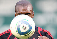 Clarence Seedorf #10 of A.C. Milan eyes the ball during an international friendly match against D.C. United at RFK Stadium, on May 26 2010 in Washington United won 3-2.