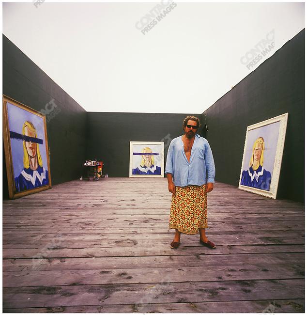 Julian Schnabel, Academy Award nominated and Golden Globe winning American artist and filmmaker, at his studio. Montauk, Long Island, New York, August 31, 2001.