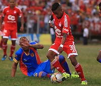 POPAYÁN -COLOMBIA-09-08-2015. Yesus Cabrera jugador del América de Cali en acción durante partido de vuelta con Universitario de Popayán por la fecha 5 del Torneo Águila 2015 jugado en el estadio Ciro Lopez de Popayán./ Yesus Cabrera of America de Cali in action during the second leg match against Universitario de Popayan for the date 5 of the Aguila Tournament 2015 played at Ciro Lopez stadium in Popayan. Photo: VizzorImage/Juan C. Quintero/