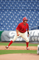 Clearwater Threshers right fielder Zachary Coppola (2) leads off first during a game against the Lakeland Flying Tigers on August 5, 2016 at Bright House Field in Clearwater, Florida.  Clearwater defeated Lakeland 3-2.  (Mike Janes/Four Seam Images)