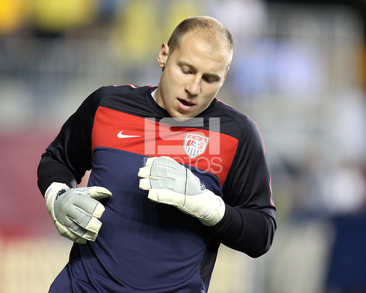 Brad Guzan #18 of the USA MNT warms up during an international friendly match against Colombia at PPL Park, on October 12 2010 in Chester, PA. The game ended in a 0-0 tie.