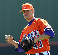 Clemson pitcher Kyle Deese (43) warms up prior to a game between the Clemson Tigers and Mercer Bears on Feb. 23, 2008, at Doug Kingsmore Stadium in Clemson, S.C. Photo by: Tom Priddy/Four Seam Images