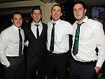 Keith Hughes, Kevin Mccormack, Conor Yorke and James Moonan pictured at the O'Raghalligh's dinner dance in the Westcourt hotel. Photo: Colin Bell/pressphotos.ie