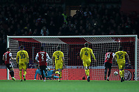 Neal Maupay (far left) scores Brentford's opening goal from the penalty spot during Brentford vs Oxford United, Emirates FA Cup Football at Griffin Park on 5th January 2019