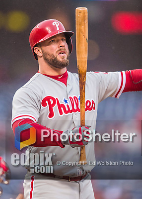 28 April 2016: Philadelphia Phillies catcher object} in action against the Washington Nationals at Nationals Park in Washington, DC. The Phillies shut out the Nationals 3-0 to sweep their mid-week, 3-game series. Mandatory Credit: Ed Wolfstein Photo *** RAW (NEF) Image File Available ***