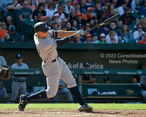 New York Yankees right fielder Aaron Judge (99) connects for a game-tying home run in the eighth inning against the Baltimore Orioles at Oriole Park at Camden Yards in Baltimore, MD on Sunday, April 9, 2017.  The Yankees won the game 7 - 3. <br /> Credit: Ron Sachs / CNP<br /> (RESTRICTION: NO New York or New Jersey Newspapers or newspapers within a 75 mile radius of New York City)