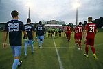 CARY, NC - SEPTEMBER 29: The starters march onto the field for player introductions. The University of North Carolina Tar Heels hosted the North Carolina State University Wolfpack on September 29, 2017 at Koka Booth Field at WakeMed Soccer Park in Cary, NC in a Division I college soccer game.
