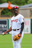Wisconsin Timber Rattlers outfielder Demi Orimoloye (6) warms up prior to game one of a Midwest League doubleheader against the Kane County Cougars on June 23, 2017 at Fox Cities Stadium in Appleton, Wisconsin.  Kane County defeated Wisconsin 4-3. (Brad Krause/Four Seam Images)