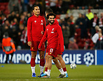 Virgil van Dijk of Liverpool and Mohamed Salah of Liverpool smile during warmup before the UEFA Champions League match at Anfield, Liverpool. Picture date: 27th November 2019. Picture credit should read: Andrew Yates/Sportimage