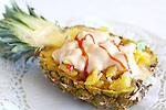 Pinya mariscada. Piña mariscada. Pineapple with seafood