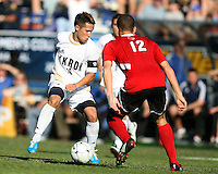 Anthony Ampaipaitakwong #10 of the University of Akron with Chase Rodgers #12 of the University of Louisville during the 2010 College Cup final at Harder Stadium, on December 12 2010, in Santa Barbara, California.Akron champions, 1-0.
