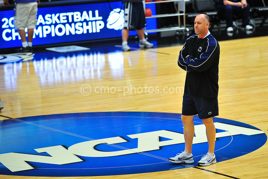Mar 16, 2011; Tucson, AZ, USA; Penn State Nittany Lions head coach Ed DeChellis at practice the day before the second round of the 2011 NCAA men's basketball tournament at the McKale Center.