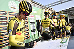 Primoz Roglic (SLO) Team Jumbo-Visma at sign on before the 113th edition of Il Lombardia 2019 running 243km from Bergamo to Como, Italy. 10th Octobre 2019. <br /> Picture: Marco Alpozzi/LaPresse | Cyclefile<br /> <br /> All photos usage must carry mandatory copyright credit (© Cyclefile | LaPresse/Marco Alpozzi)