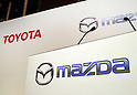 August 4, 2017, Tokyo, Japan - Japan's automakers Toyota Motor and Mazda Motor logos are dispolayed in Tokyo on Friday, August 4, 2017. TOyota and Mazda announced to form a joint venture to produce vehicle in the United States.  (Photo by Yoshio Tsunoda/AFLO) LwX -ytd-
