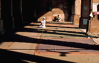 Men pray within light and shadow at the Shah Alam Roza mosque. Ahmedabad, India.