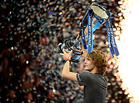 Alexander Zverev receiving his trophy for winning the ATP Tennis world tour finals <br /> <br /> Photographer Hannah Fountain/CameraSport<br /> <br /> International Tennis - Nitto ATP World Tour Finals Day 7 - O2 Arena - London - Saturday 17th November 2018<br /> <br /> World Copyright &copy; 2018 CameraSport. All rights reserved. 43 Linden Ave. Countesthorpe. Leicester. England. LE8 5PG - Tel: +44 (0) 116 277 4147 - admin@camerasport.com - www.camerasport.com