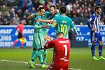 FC Barcelona's forward Leo Messi, forward Luis Suarez ,forward Neymar Santos Jr celebrates after scoring a goal during the match of La Liga between Deportivo Alaves and Futbol Club Barcelona at Mendizorroza Stadium in Vitoria, Spain. February 11, 2017. (ALTERPHOTOS/Rodrigo Jimenez)