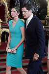 Spanish aristocrat Luis Alfonso Gonzalo Víctor Manuel Marco de Borbón Martínez-Bordiú and his wife María Margarita de Vargas y Santaella during the reception at the Royal Palace after the King's official coronation at the parliamen. June 19 ,2014. (ALTERPHOTOS/Pool)