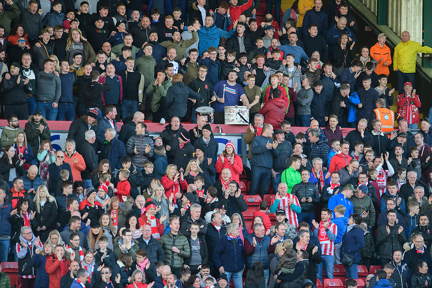 Lincoln City fans enjoy the pre-match atmosphere<br /> <br /> Photographer Chris Vaughan/CameraSport<br /> <br /> The EFL Sky Bet League Two - Lincoln City v Stevenage - Saturday 16th February 2019 - Sincil Bank - Lincoln<br /> <br /> World Copyright © 2019 CameraSport. All rights reserved. 43 Linden Ave. Countesthorpe. Leicester. England. LE8 5PG - Tel: +44 (0) 116 277 4147 - admin@camerasport.com - www.camerasport.com