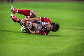 14th September 2017, Red Star Stadium, Belgrade, Serbia; UEFA Europa League Group stage, Red Star Belgrade versus BATE; Defender Filip Stojkovic of Red Star Belgrade reacts to a clash of legs in a tackle with Denis Polyakov