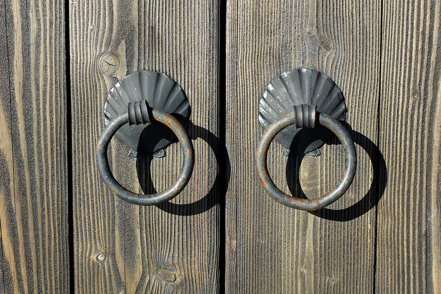 Door pull rings, Port Townsend waterfront, Jefferson County, Washington, USA