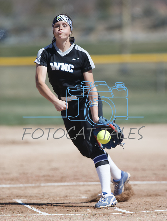 Western Nevada's Kristina George pitches against Colorado Northwestern at Edmonds Sports Complex Carson City, Nev., on Friday, March 18, 2016.<br /> Photo by Jeff Mulvihill, Jr./Nevada Photo Source